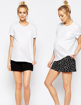 Asos 2 Pack Culotte Shorts In Plain & Polka Dot