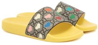 Gucci Kids GG Heart rubber slides