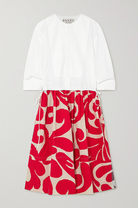 Marni Printed Cotton-poplin Midi Shirt Dress - Red