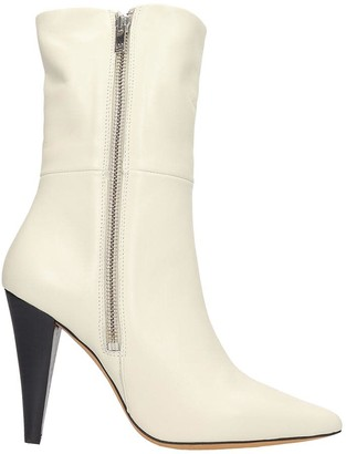 IRO Leona High Heels Ankle Boots In Beige Leather