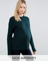 Asos Sweater In Wool Mix With Button Detail