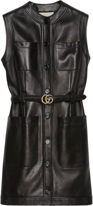 Gucci Belted Leather Dress