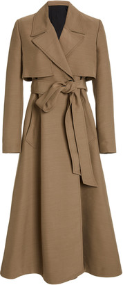 Ami Belted Wool-Blend Ottoman Trench