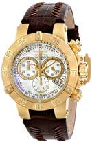 Invicta Women's Subaqua Quartz Watch with Beige Dial Chronograph Display and Brown Leather Strap 80534
