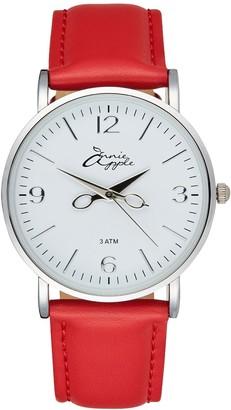 Bermuda Watch Company Annie Apple Silver/Red Leather Scissor Hands Watch