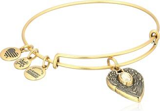 "Alex and Ani Path of Symbols"" Guardian Angel Expandable Wire Gold Bangle Charm Bracelet"