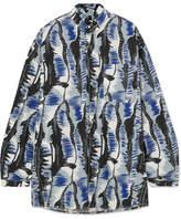 Marni Oversized Printed Cotton-poplin Shirt - Blue