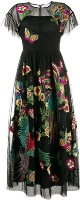 RED Valentino Floral-Embroidered Tulle Dress