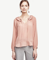 Ann Taylor Tie Front Ruffle Neck Blouse