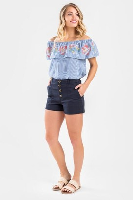 francesca's Idah Classic Button Shorts - Navy