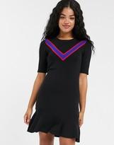 Pimkie chevron front fine gauge dress in black