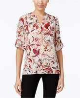 NY Collection Petite Printed Henley Top with Necklace