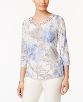 Alfred Dunner Petite Embellished Printed Lattice Top