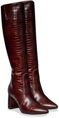 Angelika Jozefczyk Leather Croc-Effect Knee-High Boots