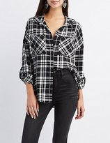 Charlotte Russe Plaid Flannel Button-Up Shirt