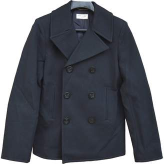 Saint Laurent Navy Wool Coats