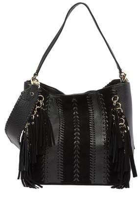 Calvin Klein Suede Leather Tassel Hobo