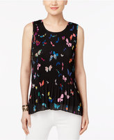 Cable & Gauge Butterfly-Print Pleated Top