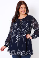 Yours Clothing Navy Floral Lace Up Smock Blouse