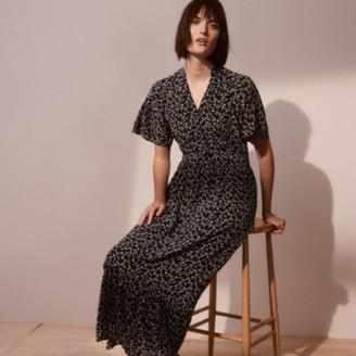 The White Company Tiered Button-Through Dress, Black, 6