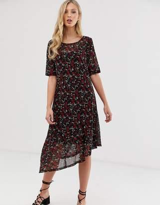 Ichi floral asymmetric dress