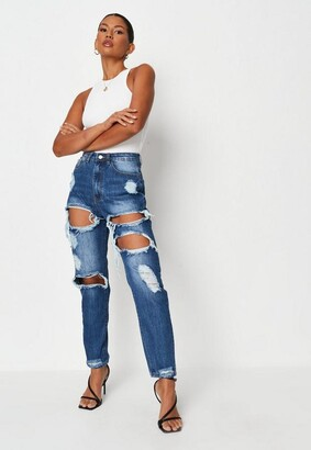 Missguided Blue High Rise Ripped Jeans