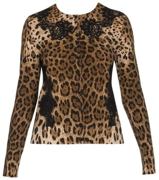 Dolce & Gabbana Lace Detail Wool-Blend Leopard Print Cardigan