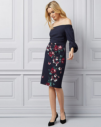 Le Château Floral Print Off-The-Shoulder Dress