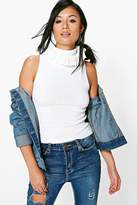 Boohoo Karina Knitted Top With Frill Collar