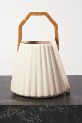 Louise et Cie Alez Small Pleated Leather Bucket Bag - White