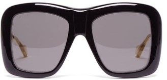 Gucci Oversized Square Acetate Sunglasses - Womens - Black