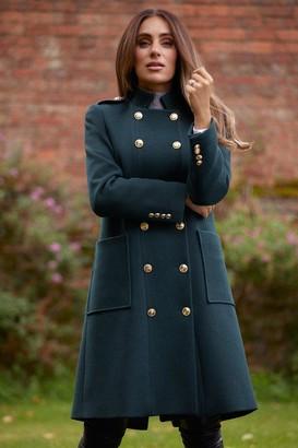 Karen Millen Military Double Breasted Wool Coat