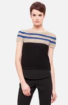 Akris Punto Short Sleeve Stripe Sweater Noir/ Nude/ Royal 2
