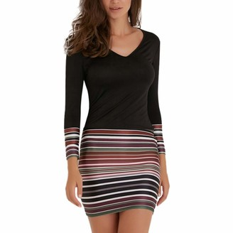 Your New Look Women's Colorblock Striped Long Sleeve V Neck Slim Dress Fashion Color Splicing Bodycon Dress Casual Mini Dress for Work Party Vacation Black