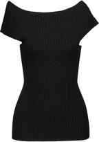 Autumn Cashmere Off-the-shoulder ribbed cotton top