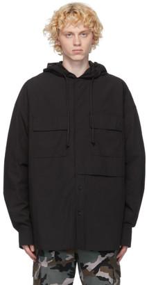 Juun.J Black Hooded Shirt
