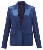 STAUD Madden Single-breasted Satin Jacket - Womens - Dark Blue