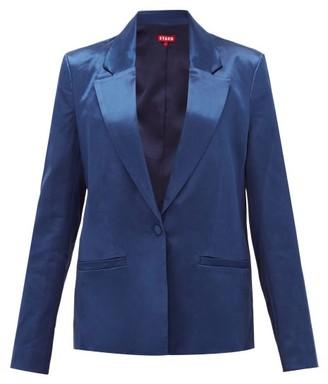 STAUD Madden Single-breasted Satin Jacket - Dark Blue