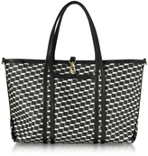 Pierre Hardy Black Polycube Printed Canvas and Leather Tote Bag