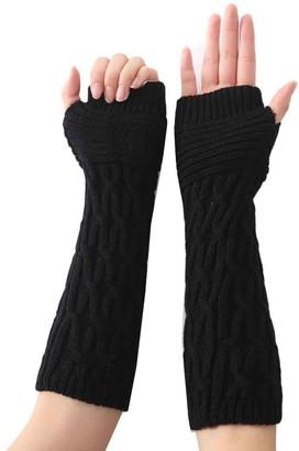 HUYURI Women Fashion Knitted Arm Sleeve Fingerless Winter Gloves Soft Warm Mitten Black
