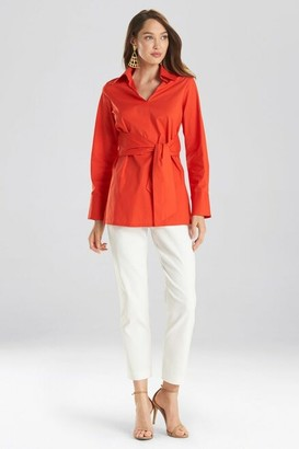 Natori Cotton Poplin Tie Front Tunic