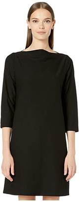 Eileen Fisher Washable Stretch Crepe Bateau Neck 3/4 Sleeve Knee Length Dress