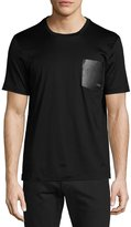 Salvatore Ferragamo Gancini Leather-Pocket T-Shirt, Black