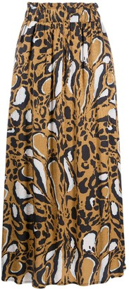 Gestuz Animal-Print Midi Skirt