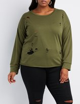 Charlotte Russe Plus Size Distressed Cut-Off Sweatshirt