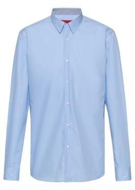 HUGO BOSS Regular Fit Shirt In Easy Iron Cotton Poplin - Light Blue
