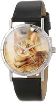 Whimsical Watches Kids' R0120043 Classic Bengal Cat Black Leather And Silvertone Photo Watch