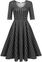 Meaneor Women Vintage Rockabilly Swing Dress Cocktail Club Evening Dresses,/L