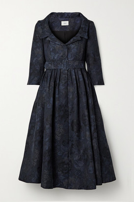 Erdem Merril Belted Cotton-blend Jacquard Midi Dress - Navy