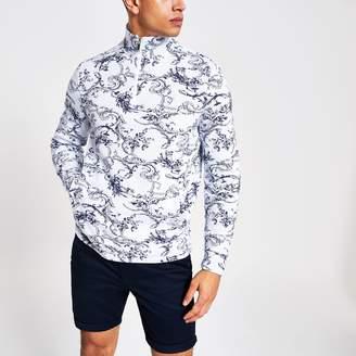 River Island Mens White floral zip neck slim fit sweatshirt